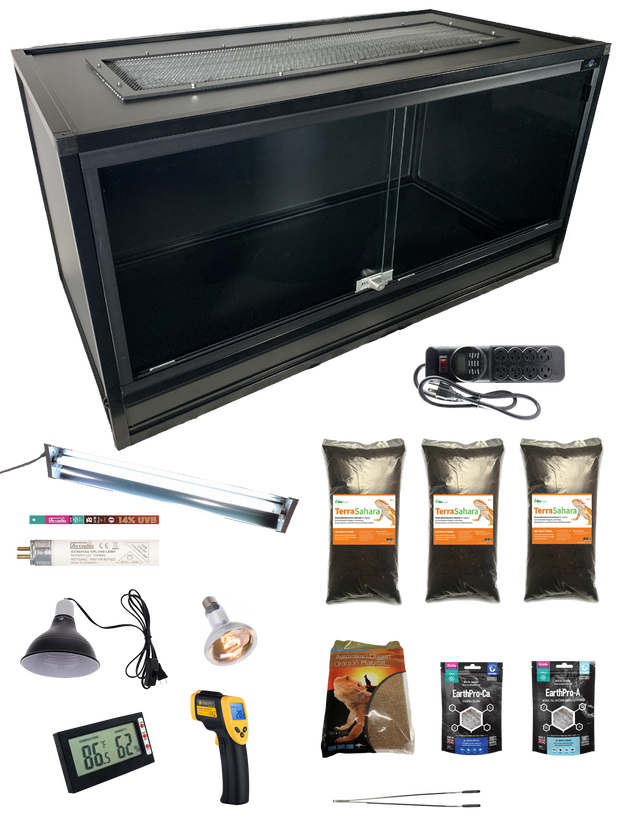 Complete Bearded Dragon Kit with Essential 4 foot PVC & Aluminum Enclosure