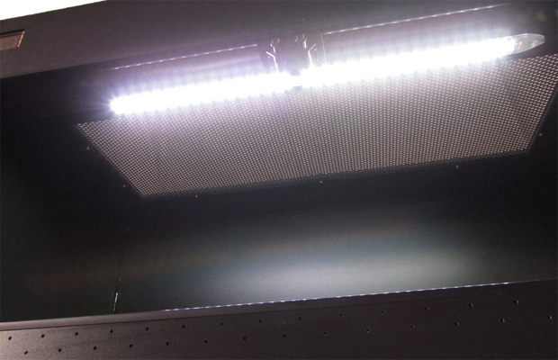 Built in LED lights with Dimmer Comes Standard on all PVC Select Series Enclosures
