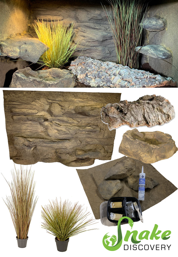 Snake Discovery – 3 Foot Reptile Décor Kit with Plants
