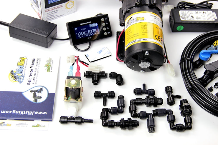 Closeup of the the Ultimate Misting System pump and T misting assemblies