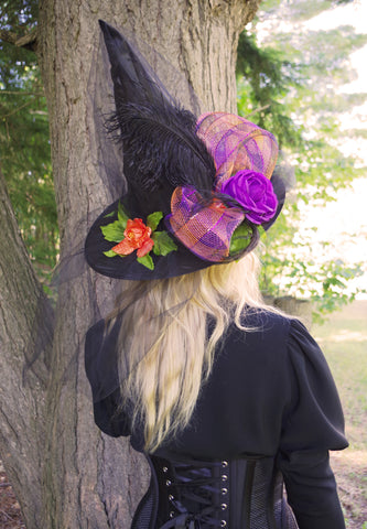 Candy Skulls and Flowers Witch Hat