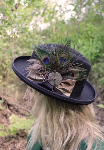 Ladies Black Felt Riding Hat
