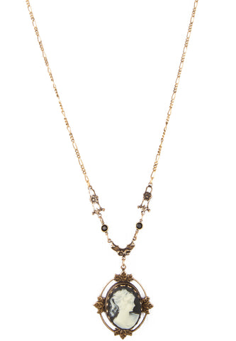 Jet Cameo Necklace