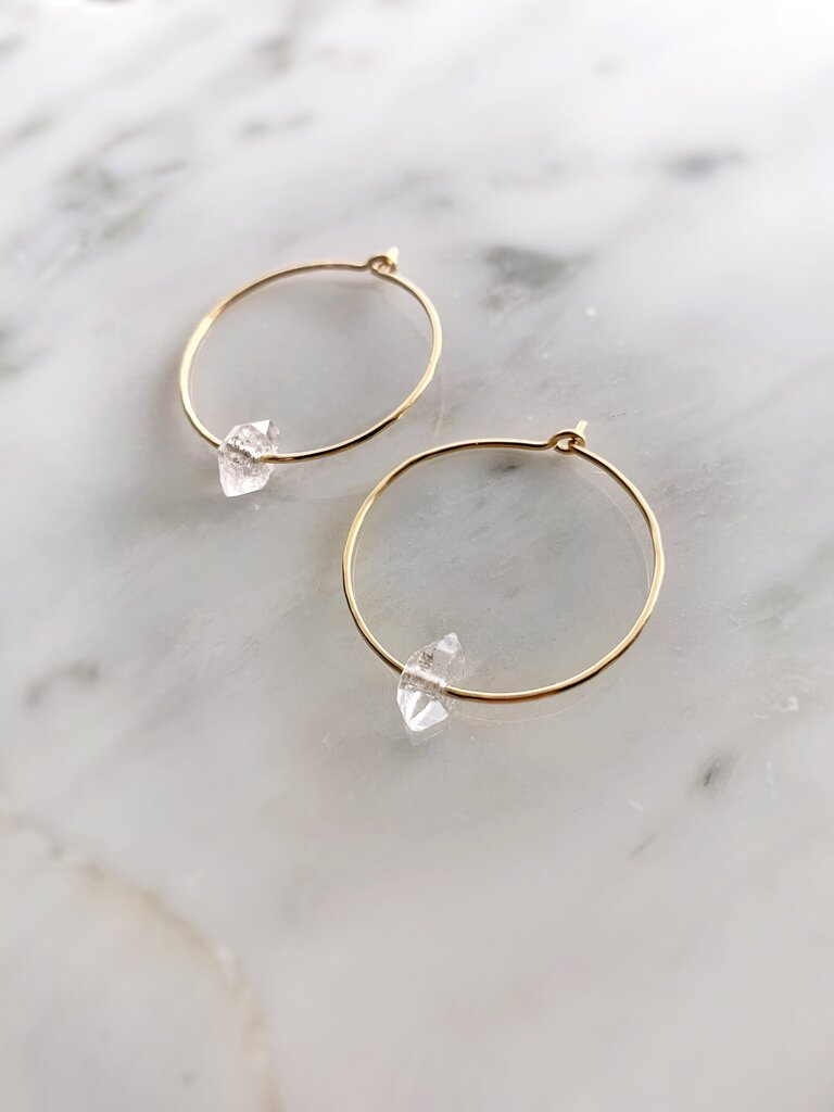 Herkimer Diamond Hoops - Gold Filled