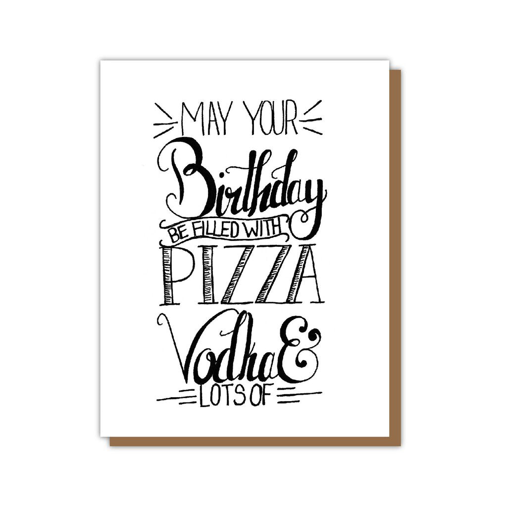 Pizza, Vodka Birthday Card