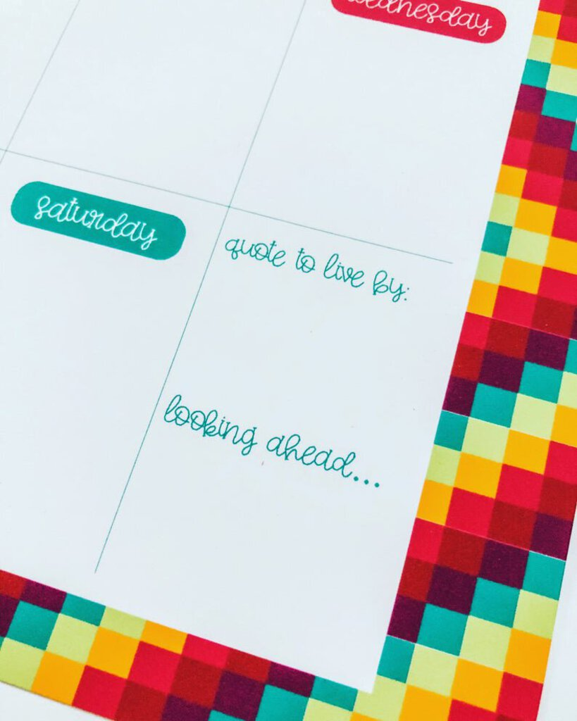 Geometric Rainbow Weekly Planner, Large