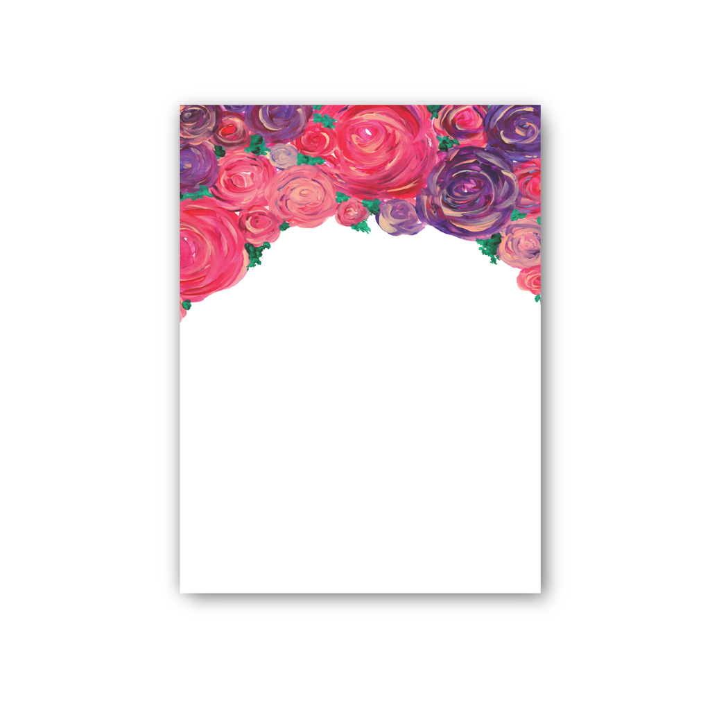 Purple Pink Roses Notepad, large