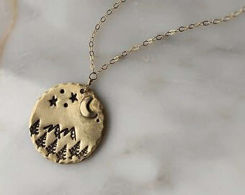 Moon & Mountains Stamped Necklace