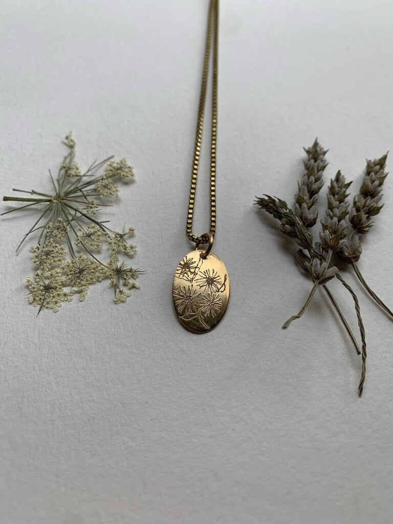 Floral Etched Necklace - Fleabane