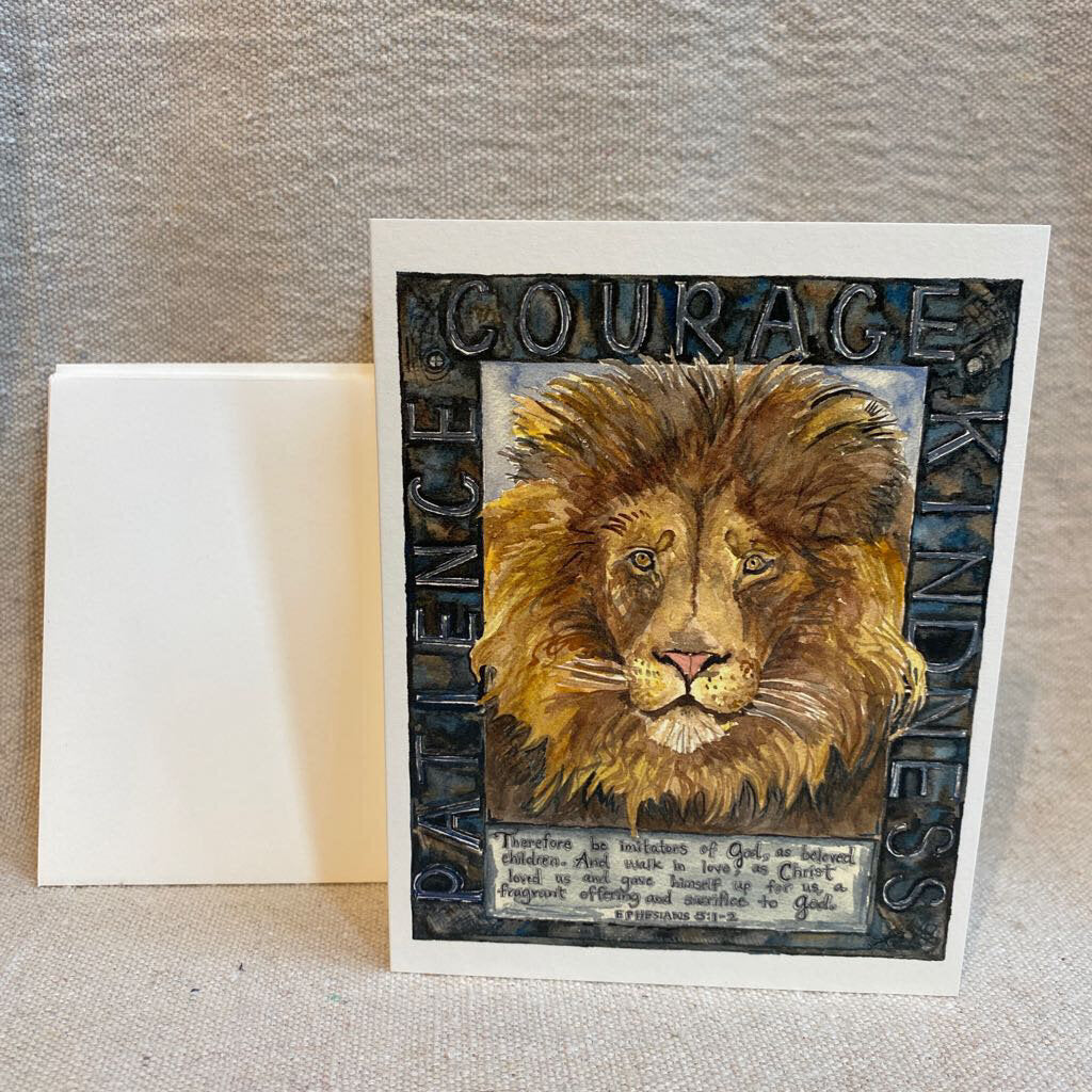 Courage Lion Watercolor Card 6Pack