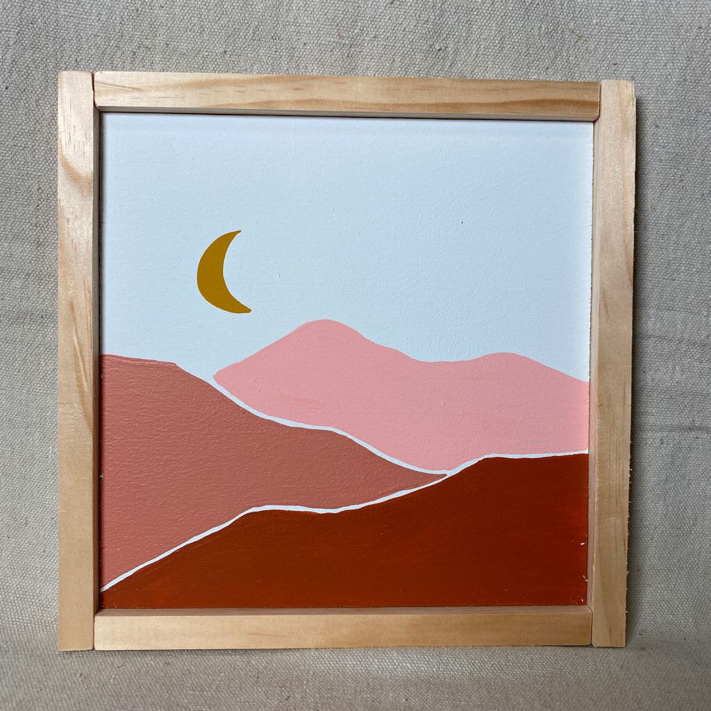 Pink Mountain Crescent Moon Sign 9x9