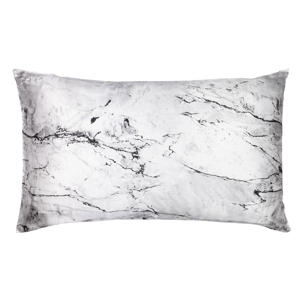 Silk Pillowcase 19mm (White Marble)