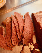 Load image into Gallery viewer, This is our cooked salt beef brisket sliced and ready to eat. Order Salt beef today from our online shop for a next day delivery