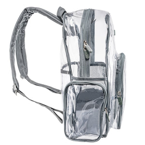 Heavy Duty Clear Backpack With Mesh Organizer (Large)