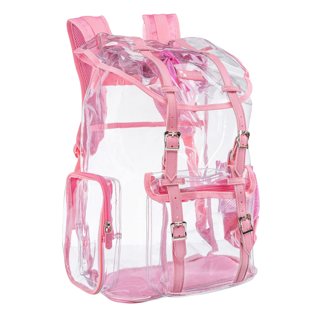 Heavy Duty Clear Backpack / Urban Knapsack With Front And Side Pouches