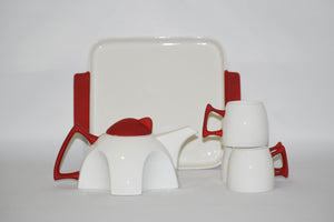 Neon Designer Tea Set-A Teapot with cup slots, Tray and 4 cups