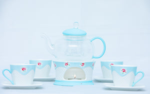 Glass Teapot with a candle warmer, Infuser, Cup & saucer Set serving 4