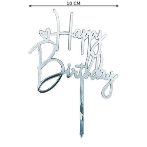 Happy Birthday Cake Topper (Zilver)