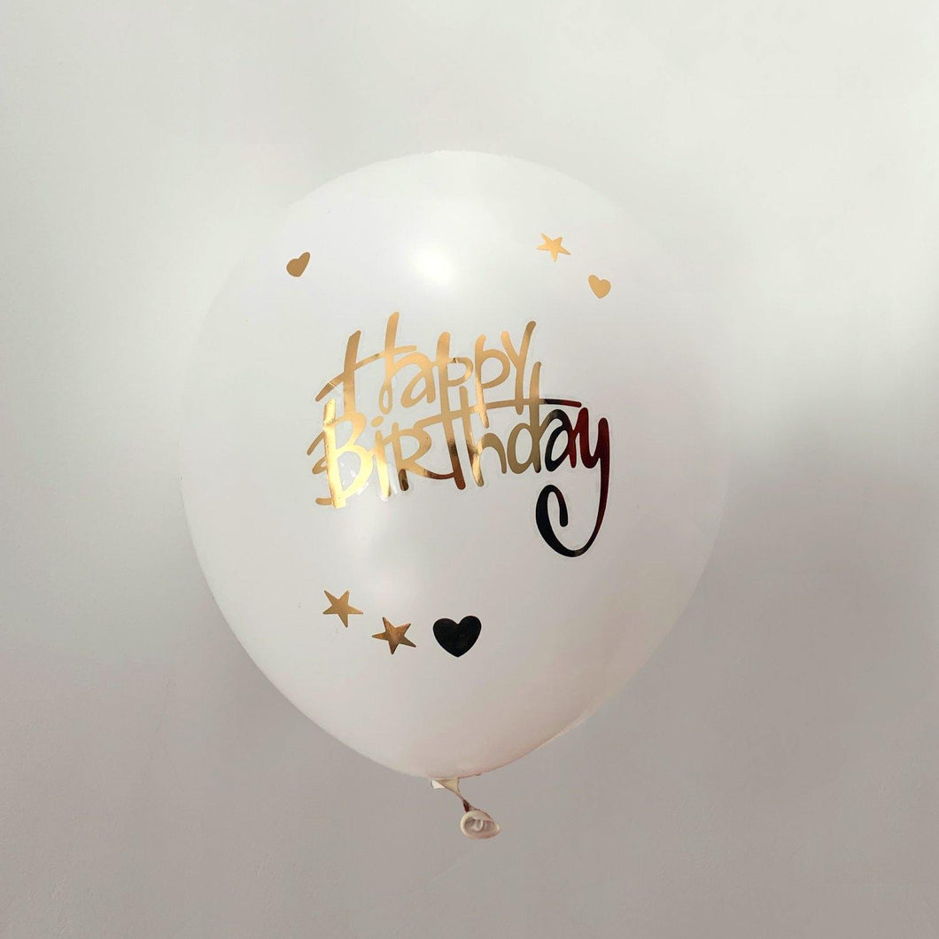 Happy Birthday - Ballon sticker Goud (10 stuks)