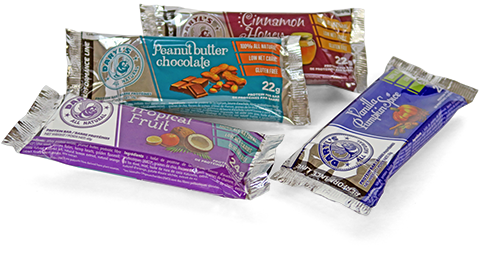 Daryl's All Natural PERFORMANCE LINE protein bars are available in 4 delicious flavours: Vanilla Pumpkin Spice, Tropical Fruit, Cinnamon Honey and Peanut Butter Chocolate.