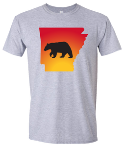 Short Sleeve T-Shirt Arkansas Athletic Heather Black Bear Vibrant Design High Quality Tight Knit Ring Spun Low Maintenance Cotton Printed With The Newest Available Color Transfer Technology