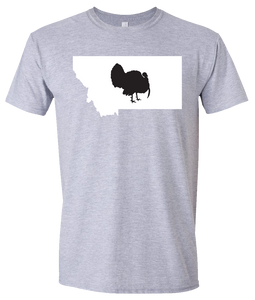 Short Sleeve T-Shirt Montana Athletic Heather Turkey Vibrant Design High Quality Tight Knit Ring Spun Low Maintenance Cotton Printed With The Newest Available Color Transfer Technology