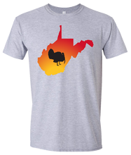 Load image into Gallery viewer, Short Sleeve T-Shirt West Virginia Athletic Heather Turkey Vibrant Design High Quality Tight Knit Ring Spun Low Maintenance Cotton Printed With The Newest Available Color Transfer Technology