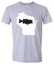 Load image into Gallery viewer, Short Sleeve T-Shirt Wisconsin Athletic Heather Large Mouth Bass Vibrant Design High Quality Tight Knit Ring Spun Low Maintenance Cotton Printed With The Newest Available Color Transfer Technology
