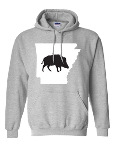 Pullover Hooded Sweatshirt Arkansas Athletic Heather Wild Hog Vibrant Design High Quality Tight Knit Ring Spun Low Maintenance Cotton Printed With The Newest Available Color Transfer Technology