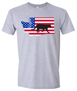 Short Sleeve T-Shirt Washington Athletic Heather Mountain Lion Vibrant Design High Quality Tight Knit Ring Spun Low Maintenance Cotton Printed With The Newest Available Color Transfer Technology