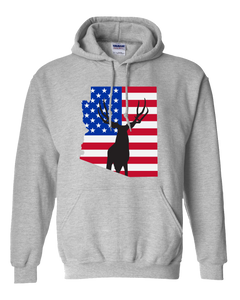 Pullover Hooded Sweatshirt Arizona Athletic Heather Mule Deer Vibrant Design High Quality Tight Knit Ring Spun Low Maintenance Cotton Printed With The Newest Available Color Transfer Technology