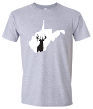 Load image into Gallery viewer, Short Sleeve T-Shirt West Virginia Athletic Heather Whitetail Deer Vibrant Design High Quality Tight Knit Ring Spun Low Maintenance Cotton Printed With The Newest Available Color Transfer Technology