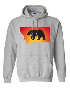 Pullover Hooded Sweatshirt Montana Athletic Heather Black Bear Vibrant Design High Quality Tight Knit Ring Spun Low Maintenance Cotton Printed With The Newest Available Color Transfer Technology