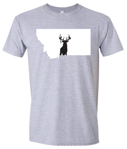 Short Sleeve T-Shirt Montana Athletic Heather Whitetail Deer Vibrant Design High Quality Tight Knit Ring Spun Low Maintenance Cotton Printed With The Newest Available Color Transfer Technology