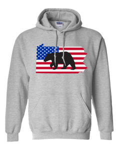 Pullover Hooded Sweatshirt Pennsylvania Athletic Heather Black Bear Vibrant Design High Quality Tight Knit Ring Spun Low Maintenance Cotton Printed With The Newest Available Color Transfer Technology