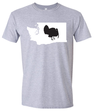 Load image into Gallery viewer, Short Sleeve T-Shirt Washington Athletic Heather Turkey Vibrant Design High Quality Tight Knit Ring Spun Low Maintenance Cotton Printed With The Newest Available Color Transfer Technology
