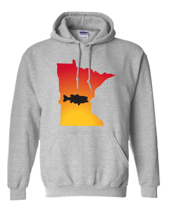 Pullover Hooded Sweatshirt Minnesota Athletic Heather Large Mouth Bass Vibrant Design High Quality Tight Knit Ring Spun Low Maintenance Cotton Printed With The Newest Available Color Transfer Technology