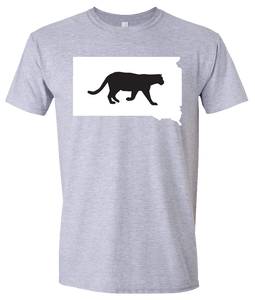 Short Sleeve T-Shirt South Dakota Athletic Heather Mountain Lion Vibrant Design High Quality Tight Knit Ring Spun Low Maintenance Cotton Printed With The Newest Available Color Transfer Technology