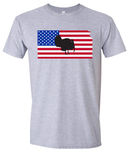 Short Sleeve T-Shirt Kansas Athletic Heather Turkey Vibrant Design High Quality Tight Knit Ring Spun Low Maintenance Cotton Printed With The Newest Available Color Transfer Technology