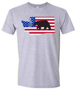Short Sleeve T-Shirt Washington Athletic Heather Black Bear Vibrant Design High Quality Tight Knit Ring Spun Low Maintenance Cotton Printed With The Newest Available Color Transfer Technology