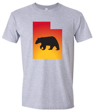 Load image into Gallery viewer, Short Sleeve T-Shirt Utah Athletic Heather Black Bear Vibrant Design High Quality Tight Knit Ring Spun Low Maintenance Cotton Printed With The Newest Available Color Transfer Technology