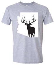 Load image into Gallery viewer, Short Sleeve T-Shirt Arizona Athletic Heather Elk Vibrant Design High Quality Tight Knit Ring Spun Low Maintenance Cotton Printed With The Newest Available Color Transfer Technology