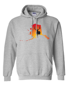 Pullover Hooded Sweatshirt Alaska Athletic Heather Elk Vibrant Design High Quality Tight Knit Ring Spun Low Maintenance Cotton Printed With The Newest Available Color Transfer Technology