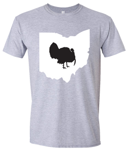 Short Sleeve T-Shirt Ohio Athletic Heather Turkey Vibrant Design High Quality Tight Knit Ring Spun Low Maintenance Cotton Printed With The Newest Available Color Transfer Technology
