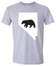 Load image into Gallery viewer, Short Sleeve T-Shirt Nevada Athletic Heather Black Bear Vibrant Design High Quality Tight Knit Ring Spun Low Maintenance Cotton Printed With The Newest Available Color Transfer Technology