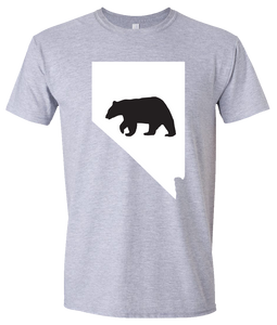 Short Sleeve T-Shirt Nevada Athletic Heather Black Bear Vibrant Design High Quality Tight Knit Ring Spun Low Maintenance Cotton Printed With The Newest Available Color Transfer Technology