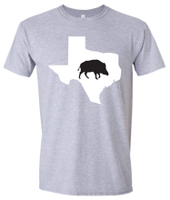 Load image into Gallery viewer, Short Sleeve T-Shirt Texas Athletic Heather Wild Hog Vibrant Design High Quality Tight Knit Ring Spun Low Maintenance Cotton Printed With The Newest Available Color Transfer Technology