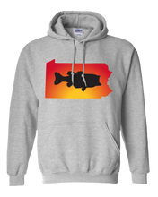Load image into Gallery viewer, Pullover Hooded Sweatshirt Pennsylvania Athletic Heather Large Mouth Bass Vibrant Design High Quality Tight Knit Ring Spun Low Maintenance Cotton Printed With The Newest Available Color Transfer Technology