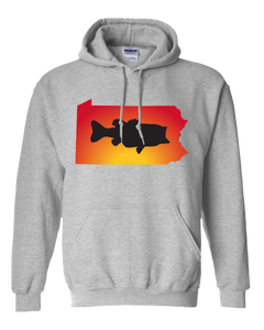 Pullover Hooded Sweatshirt Pennsylvania Athletic Heather Large Mouth Bass Vibrant Design High Quality Tight Knit Ring Spun Low Maintenance Cotton Printed With The Newest Available Color Transfer Technology