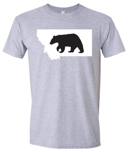 Short Sleeve T-Shirt Montana Athletic Heather Black Bear Vibrant Design High Quality Tight Knit Ring Spun Low Maintenance Cotton Printed With The Newest Available Color Transfer Technology
